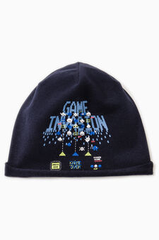 Jersey beanie cap with print, Navy Blue, hi-res