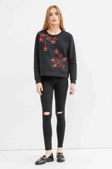 Cotton blend sweatshirt with embroidery, Black, hi-res