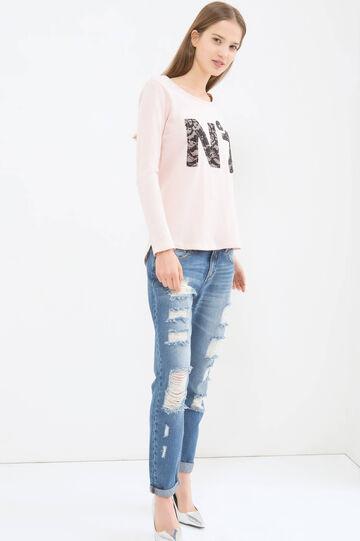 100% cotton T-shirt with long sleeves, Powder Pink, hi-res