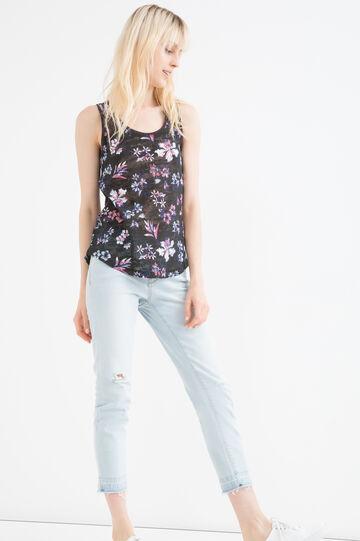Cotton blend floral top, Black, hi-res