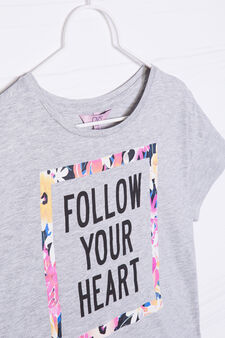 Printed crop T-shirt in 100% cotton, Grey Marl, hi-res