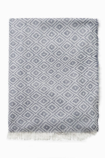 Scarf with diamond pattern, White/Blue, hi-res