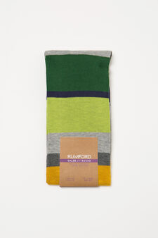 Long socks with Rumford striped pattern, Grey, hi-res