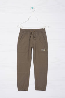 100% cotton trousers with patch, Green, hi-res