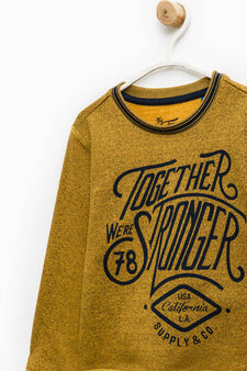 Cotton blend sweatshirt with printed lettering, Yellow, hi-res