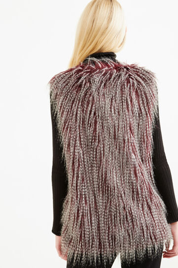 Faux fur gilet with hooks, Grey/Red, hi-res