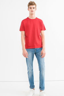 Two-pack 100% cotton round neck T-shirts, Grey/Red, hi-res