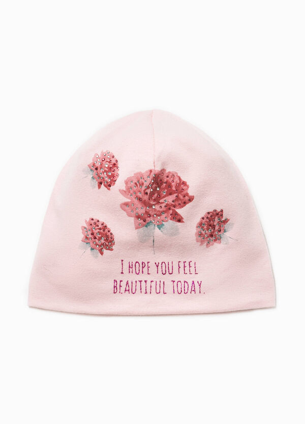 Beanie cap with print and diamantés | OVS