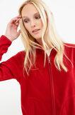 Solid colour fleece sweatshirt with zip, Red, hi-res