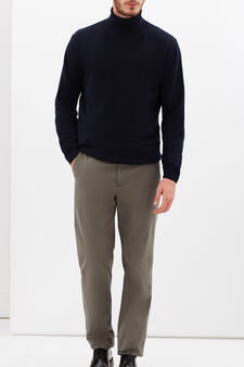 Rumford stretch cotton trousers with zip, Dove Grey, hi-res