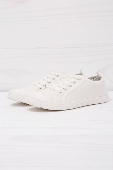 Solid colour low-rise sneakers., White, hi-res