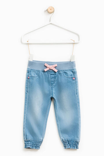 Washed-effect jeans with bow, Denim, hi-res
