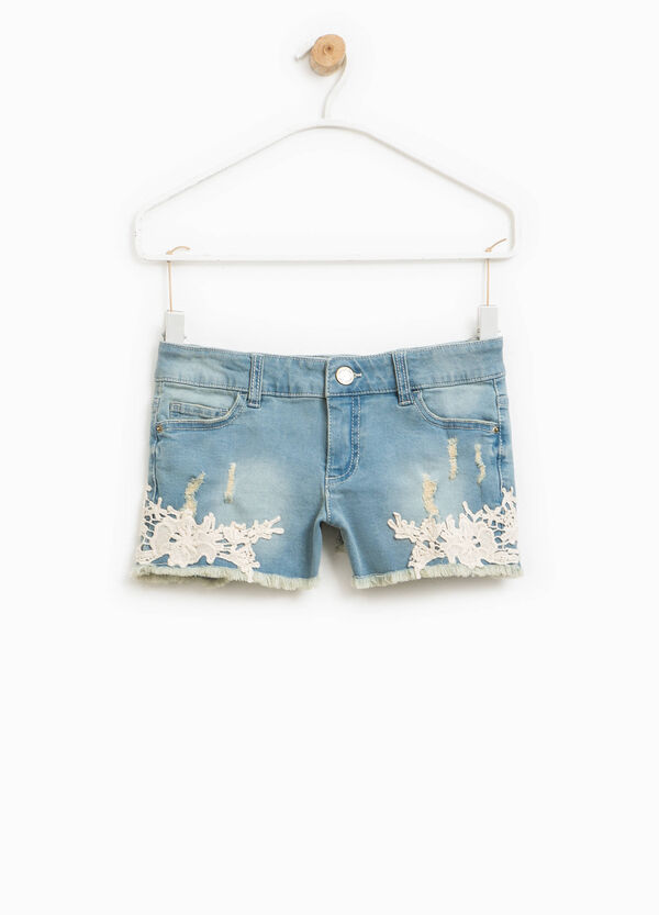 Short jeans with lace and fringed hem | OVS