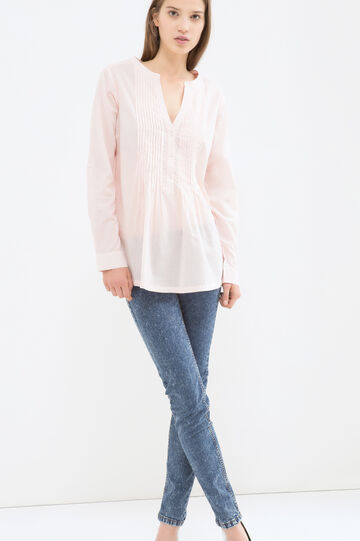 Solid colour 100% cotton blouse, Baby Pink, hi-res