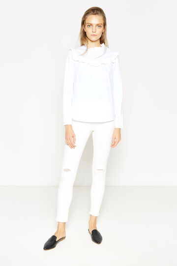 Stretch cotton blouse with frills