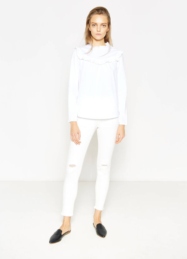 Stretch cotton blouse with frills | OVS