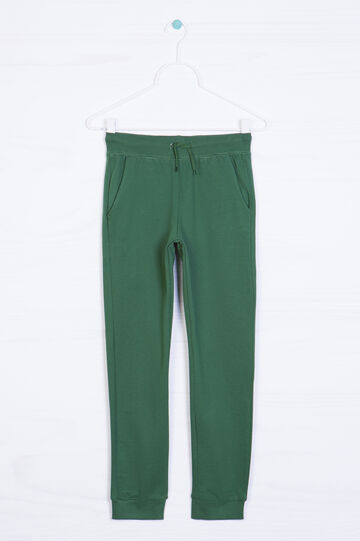 Solid colour cotton and viscose trousers, Green, hi-res