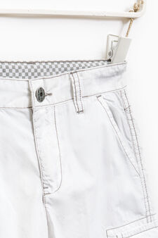Cotton Bermuda shorts with contrasting stitching, Off-white, hi-res