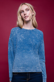 100% cotton mis-dyed sweatshirt, Denim Blue, hi-res
