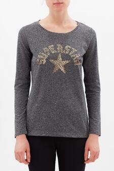 T-shirt sportiva misto cotone, Grigio melange, hi-res