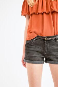Stretch denim shorts with belt, Black, hi-res
