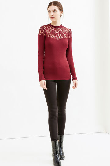Ribbed stretch T-shirt with lace, Red, hi-res