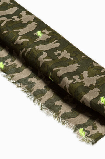 Camouflage patterned pashmina, Army Green, hi-res