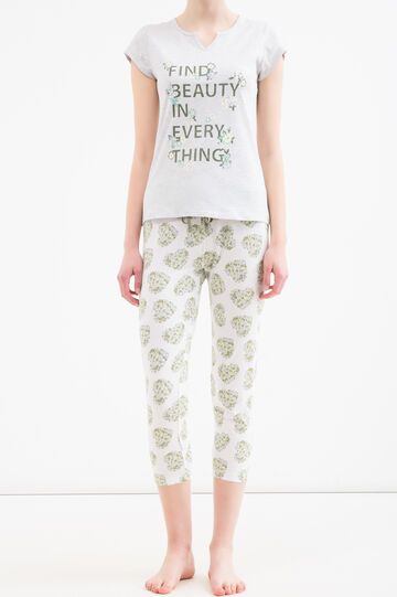 Cotton pyjamas with printed lettering, Grey Marl, hi-res