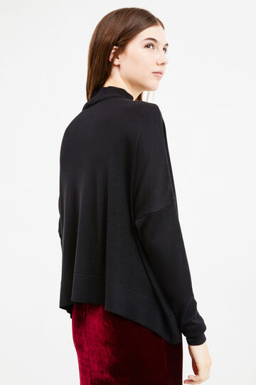 Solid colour viscose pullover with high neck, Black, hi-res