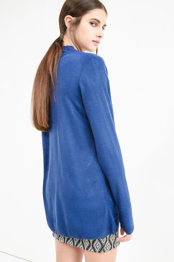 Solid colour knitted cardigan, Denim Blue, hi-res