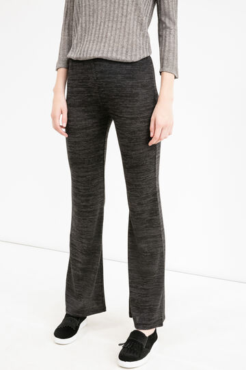 Stretch viscose bell-bottom trousers, Black/Grey, hi-res