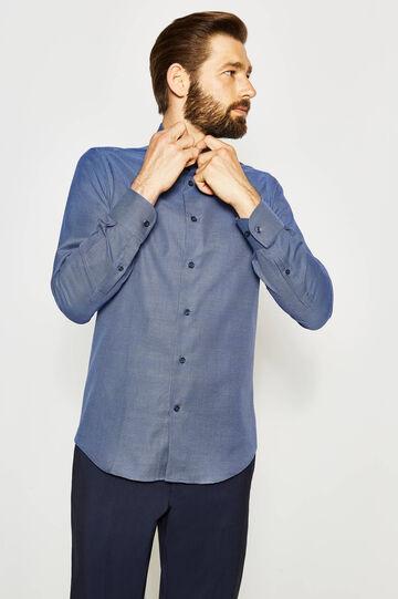 Camisa formal slim fit con estampado pequeño, Blanco/Azul, hi-res