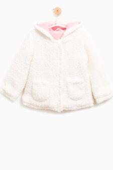 Fur jacket with hood, Milky White, hi-res