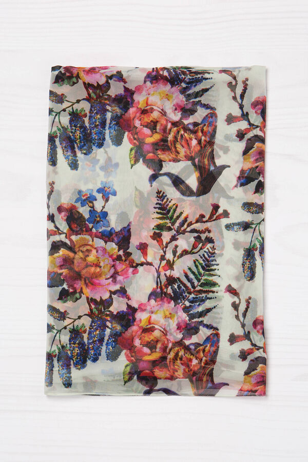 Floral print viscose scarf | OVS