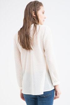 Patterned blouse with fringe, Ecru, hi-res