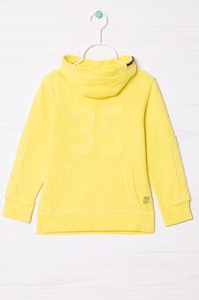 Cotton sweatshirt with high neck., Yellow, hi-res