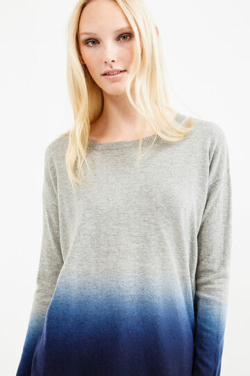 Degradé-effect, wool blend pullover, Grey/Blue, hi-res