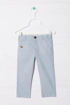Pantaloni puro cotone a righe, Bianco/Azzurro, hi-res