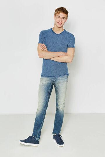 Striped T-shirt in 100% cotton, Blue/Light Blue, hi-res