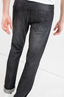 Jeans straight fit used con baffature, Nero, hi-res
