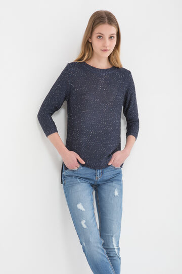 Sequinned knitted pullover, Blue, hi-res