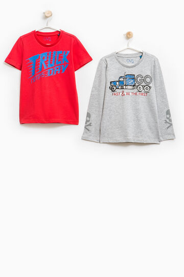 100% cotton double top with lettering, Grey/Red, hi-res