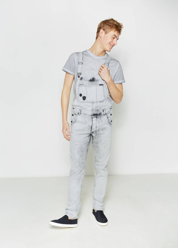 Denim dungarees with patches | OVS