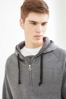 Cotton hoodie with zip, Dark Grey, hi-res