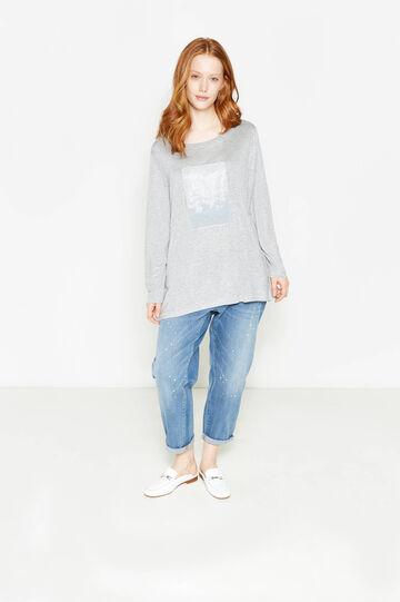 Curvy T-shirt in 100% printed viscose, Grey Marl, hi-res