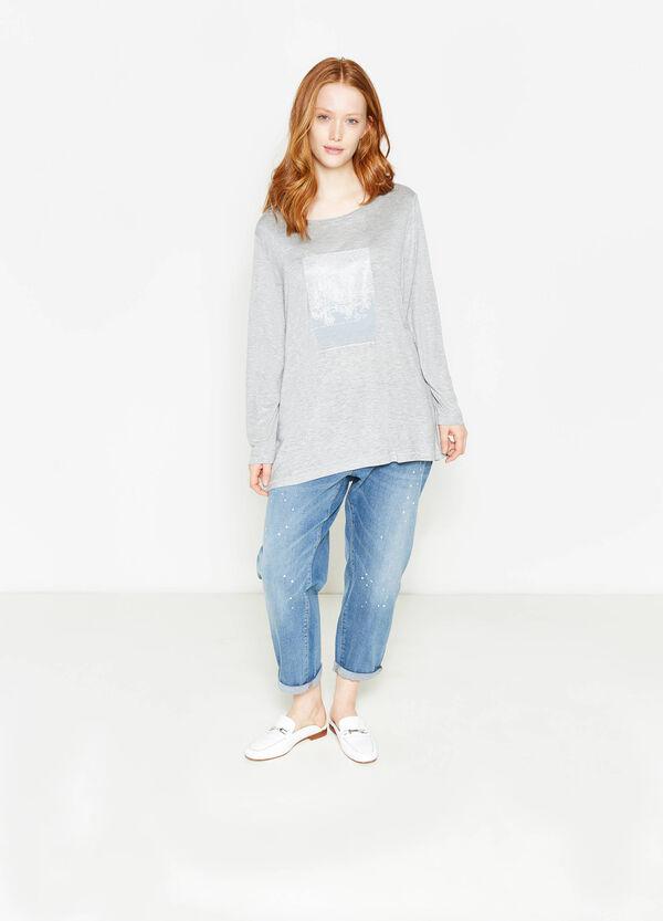 T-shirt in pura viscosa stampata Curvy | OVS