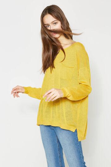 Jersey con bajo asimétrico y bolsillo, Amarillo, hi-res