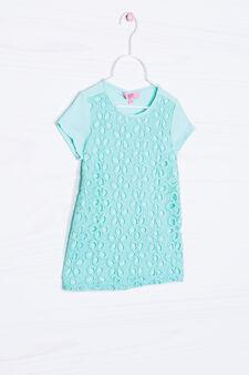 T-shirt traforata cotone tinta unita, Azzurro acqua, hi-res