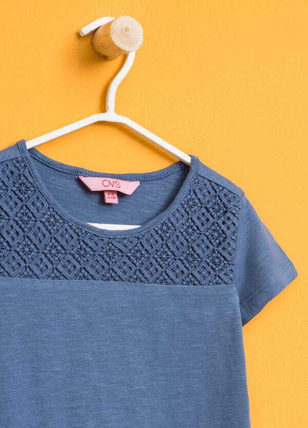 Cotton T-shirt with lace and diamantés | OVS