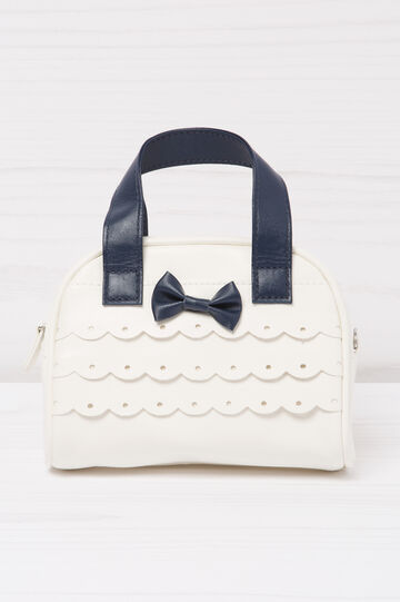Leather look bag with bow, White/Blue, hi-res